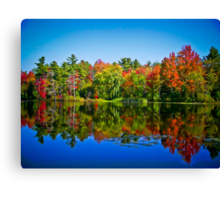 Peak Fall Colors Reflected on a Blue Lake Canvas Print