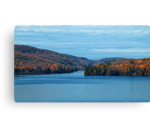 Fall Foliage in a Blue Lake and Sky Symphony Canvas Print