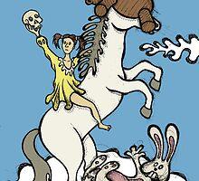 Teddy Bear And Bunny - Unicorn Ride by Brett Gilbert