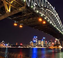 Sydney Harbour Bridge & Opera House at Night by mikeofthethomas