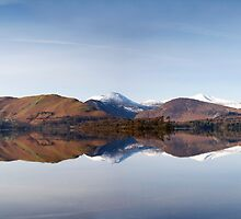 A perfect winters reflection on Derwentwater by Martin Lawrence