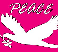 peace, with dove and olive branch by dedmanshootn