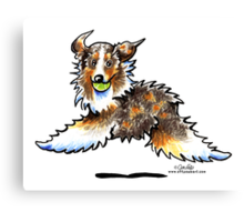 Red Merle Australian Shepherd Let's Play Canvas Print