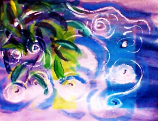 The ripple effect after the rain on the pond, watercolor by Anna  Lewis