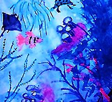 Life under water, watercolor by Anna  Lewis