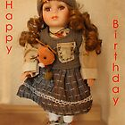 Girls, Doll Birthday card by Forfarlass