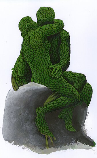 Rodin's The Kiss Topiary Painted Laser Print by Donna Huntriss