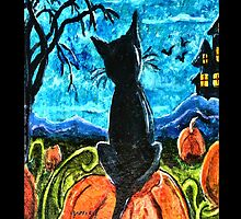 Cat in pumpkin patch by gretzky