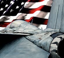 F-14 and American Flag by InkandBrush2