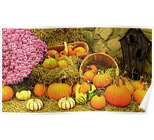 Decorative Pumpkins & Gourds in a Fall Cornucopia Poster