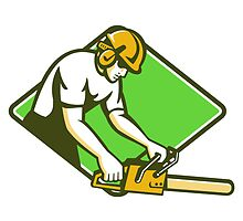 tree surgeon arborist lumberjack chainsaw by retrovectors
