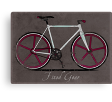 Fixed Gear White Bicycle Canvas Print