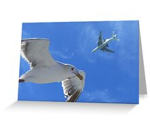 Space Shuttle over the Bay 9 21 12 Greeting Card