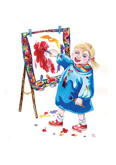 Painting for toddlers - Kawaii cute girl paints a picture by didielicious
