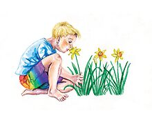 Spring daffodils - cute boy smelling flowers by didielicious