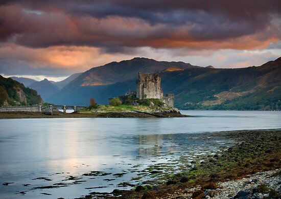 Red Sky at Eilean Donan Castle by Angie Latham