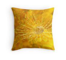 Golden Dandelion Drops Throw Pillow
