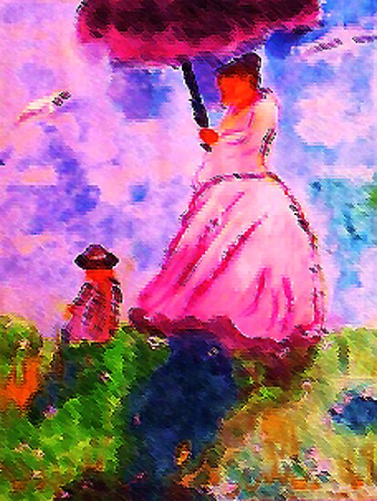 Windy day for a walk on hill, watercolor by Anna  Lewis