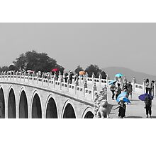 Umbrellas in Beijing 17 arch bridge Photographic Print