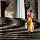 Woman Walking Up Library Steps by Leslie  Hagen