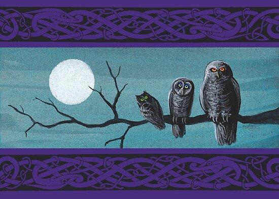 Spooky Halloween Owls by katemccredie