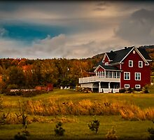 A Red House in a Fall Countryside by Chantal PhotoPix