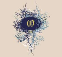 Retro Damask Pattern with Monogram Letter O by Nhan Ngo