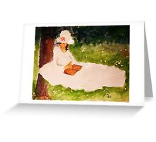 The Reader under the tree, watercolor Greeting Card
