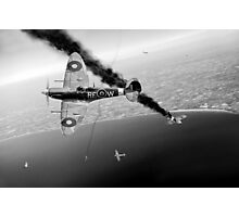 303 Squadron Spitfires in Channel dogfight B&W Photographic Print