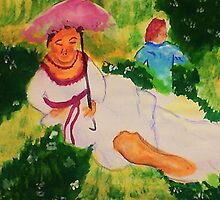 Resting while her child plays, watercolor by Anna  Lewis