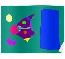 Green Board Purple Bird Blue Sky Yellow Moon Poster