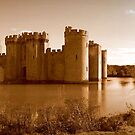 Bodiam Castle - Panorama (sepia) by Lisa Hafey