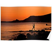 Lonely Fisherman At Sunset Poster