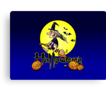 Halloween, witch on a broom, bats and pumpkins Canvas Print