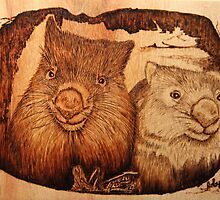 Pyrography: Two Wombats in Their Burrow by aussiebushstick