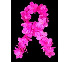 Azalea Flower Arrangement Photo Breast Cancer Awareness Ribbon Photographic Print
