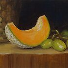 Cantaloupe and Green Grapes by karenhetzer