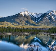 Mountains and Vermillion Lakes, Banff AB by RainaRaina