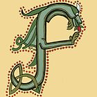 Celtic Oscar letter F (New Manuscript version) by Donna Huntriss