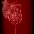 Grapes and a Drink Glass in Vintage Red by Sherry Hallemeier