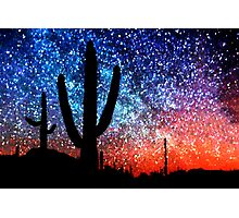 Cacti and the Starry Night Sky Photographic Print