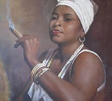 Cuban lady smoking a cigar by danielmendoza22
