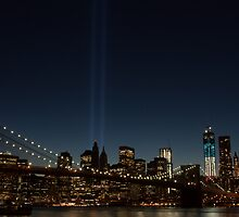 A Tribute in Light: September 11th Memorial Lights and the Brooklyn Bridge by Dave Bledsoe