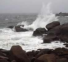 Waves smashing into rocks at Cape Neddick, ME by Bine