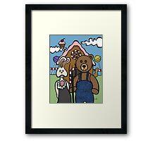Teddy Bear And Bunny - Abearican Gothic Framed Print