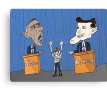 Obama Romney debate caricature Canvas Print