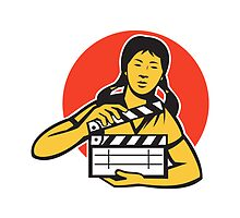 Asian woman girl with movie clapboard by retrovectors