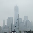 New World Trade Center, Lower Manhattan Skyline, View in a Light Rain and Fog, Jersey City View by lenspiro