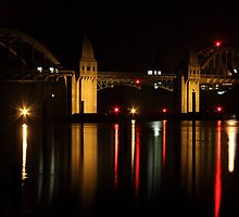 Siuslaw River Bridge Reflections by James Eddy
