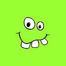 Silly, goofy smiley face with big teeth green iPhone case by Mhea